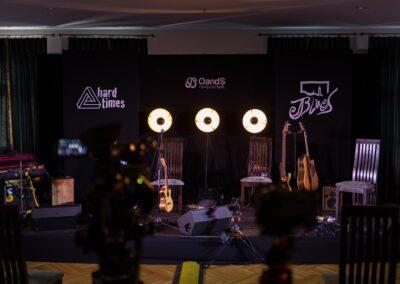 Scena z reflektorami i dwie kamery