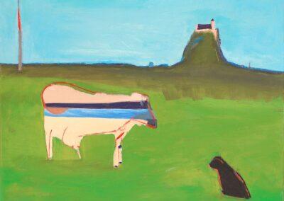 Błękitny pas nieba, na horyzoncie prązowy pas ze wzgórzem. Na pierwszym planie zwierze różowe z pasem w kolorze błękitnym i granatowym. Obok siedzi szary kot.