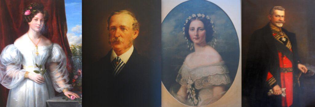 Cztery portrety kobieta w białej sukni, mężczyzna w czarnym garniturze, kobieta w sukni, mężczyzna