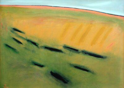 U góry wąski błekitny pas, pod nimpas żółty i delikatny zielony. Niżej z lewej węższy, z prawej szerszy pas żółty z ciemniejszymi pasami piomowymi po prawej. Pod nim pas zieleni z poziomymi, krótkimi pasami czarnymi.