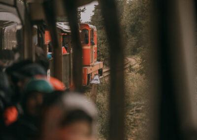 Widok z okna kolejki na skręcający pociąŋ i na lokomotywę.